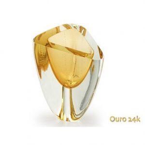 Vaso triangulo N4 - detalhe em âmbar e com ouro 24k