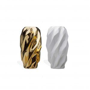 Vaso com Plissan Geométrico G (preto, branco e dourado)