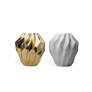 Vaso com Plissan Geométrico P (preto, branco e dourado)