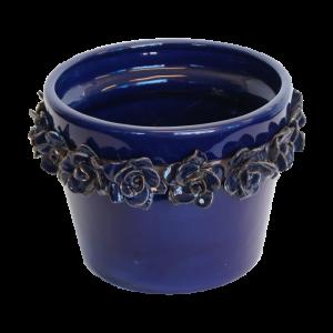 Vaso azul com rosas azuis
