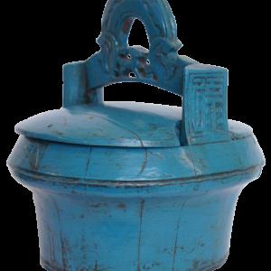 Cestinha azul madeira
